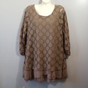 Style & Co. Brown Polka Dot Tunic